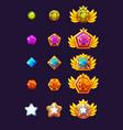 set gems award progress golden amulets vector image vector image