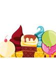 set of delicious ice cream in cone vector image vector image