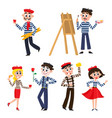 set of funny french people mimes artist food vector image vector image