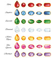 Seven Sets Of Jewelery With Text vector image vector image