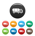 tanker truck icons set color vector image