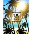 Tropical palms design for text card Summer vector image