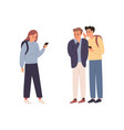 two angry student guy spreading rumors vector image vector image