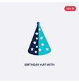two color birthday hat with dots and stars icon vector image vector image