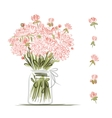 Vase with pink flowers sketch for your design vector image
