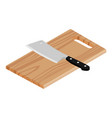 wooden cutting board isolated on white background vector image