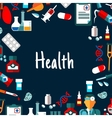 Medical background with healthcare flat icons vector image