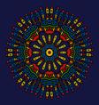 ethnic colored hand drawn mandala navy blue vector image