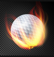 golf ball on fire burning style vector image