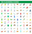 100 cleaning set cartoon style vector image vector image