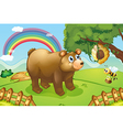 A hungry bear watching the beehive vector image vector image