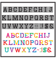 alphabet in abstract and retro style vector image