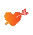 Arrow heart sign Orange applique isolated vector image vector image