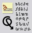 arrows alphabet symbol vector image