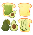 avocado toast - set fresh toasted bread vector image vector image