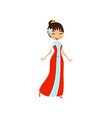 beautiful little oriental princess in red dress vector image vector image