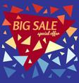 big sale special offer banner on blue background vector image