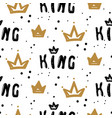 black and white king crown seamless pattern with vector image vector image