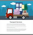 brochure truck is transporting furniture vector image vector image
