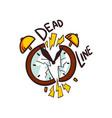 broken alarm clock and deadline word vector image vector image