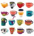 cartoon cup kids creative mugs coffee or vector image