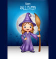 cartoon little witch holding broomstick with hallo vector image vector image