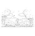 cartoon man meditating surrounded nature vector image
