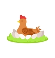 Chicken On Nest Cartoon Farm Related Element On vector image vector image