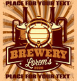 color poster template with barrel for brewery vector image