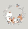 cute cartoon animals meeting holiday in winter vector image vector image