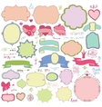 Doodle colored labelsbadgesdecor elementLove vector image