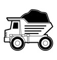 dump truck with rocks on monochrome silhouette vector image vector image