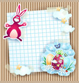 easter card with bunny and eggs on cardboard vector image vector image