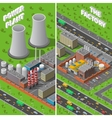 Factory Plant Industrial Isometric vertical vector image