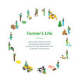 farmers at work 3d banner card circle isometric vector image