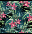 ficus palm leaves and pink orchid flowers vector image vector image