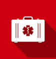 first aid box and star of life with long shadow vector image vector image
