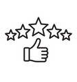 five star rating linear icon vector image vector image