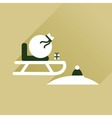 Flat icon with long shadow Santas sleigh vector image vector image