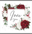 floral greeting card with red and white roses vector image vector image