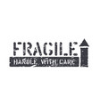 fragile arrow up isolated grunge box sign for vector image vector image