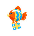 funny fish with gift box cute little sea creature vector image vector image