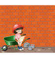 girl working at construction site vector image vector image