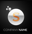 gold letter s logo silver dots splash and bubble vector image vector image