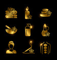 golden spa massage relaxing icons set vector image vector image