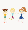 group happy cute character jumping kids vector image