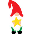 happy christmas gnome with christmas star on white vector image vector image