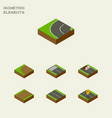 isometric way set of flat turning strip and vector image vector image