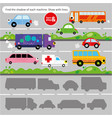 logic kid find car form game printable worksheet vector image vector image