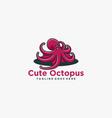 logo cute octopus simple mascot style vector image
